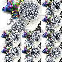 (500 грамм) ОПТ Жемчуг бусины пластик Ø4мм (прим. 14000 шт) Цвет - Серый