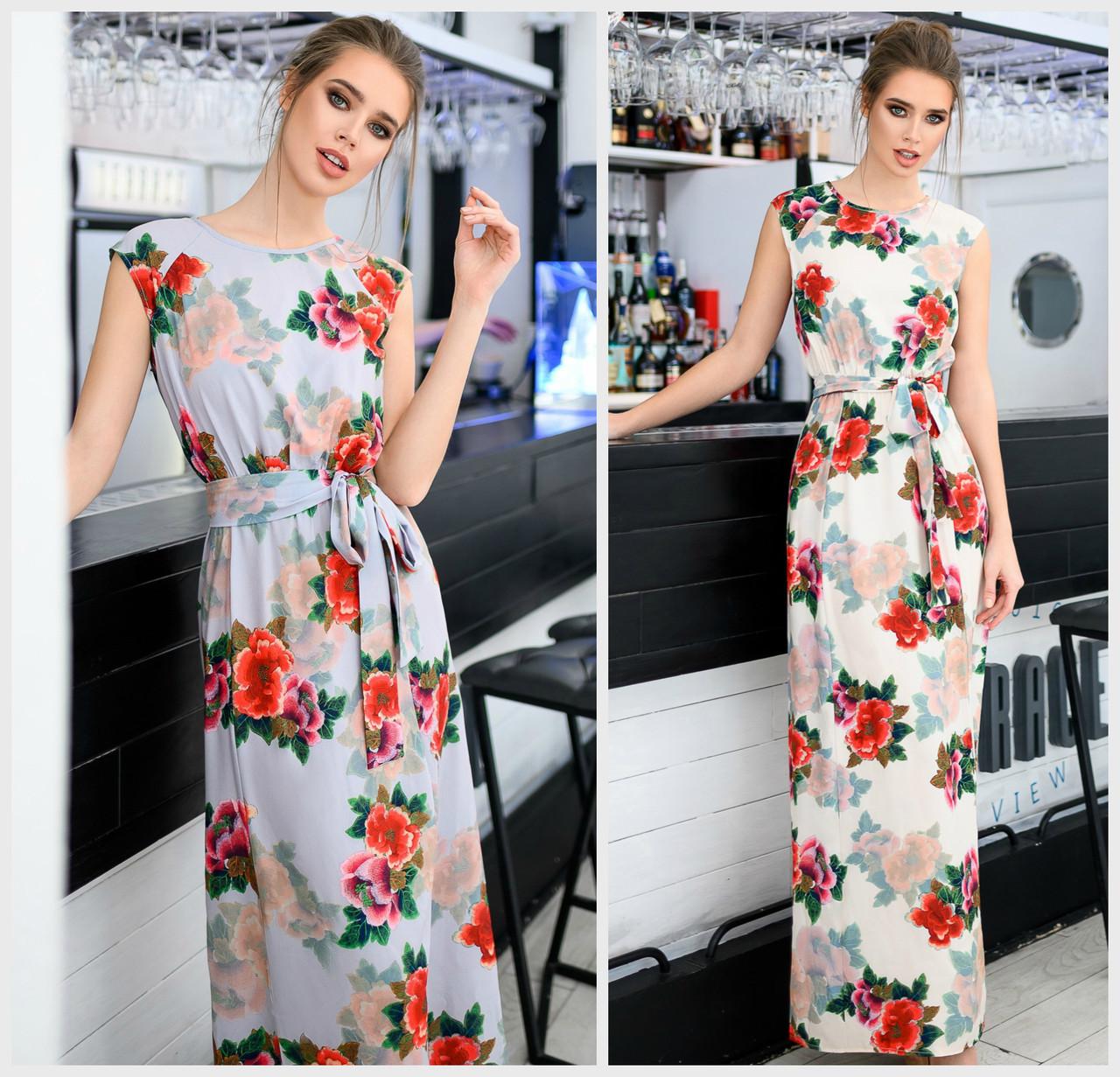 Длинное цветочное платье с поясом Батал до 56 р 18568-1