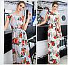 Довге квіткове плаття з поясом Батал до 56 р 18568-1