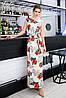 Длинное цветочное платье с поясом Батал до 56 р 18568-1, фото 4