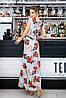 Длинное цветочное платье с поясом Батал до 56 р 18568-1, фото 5