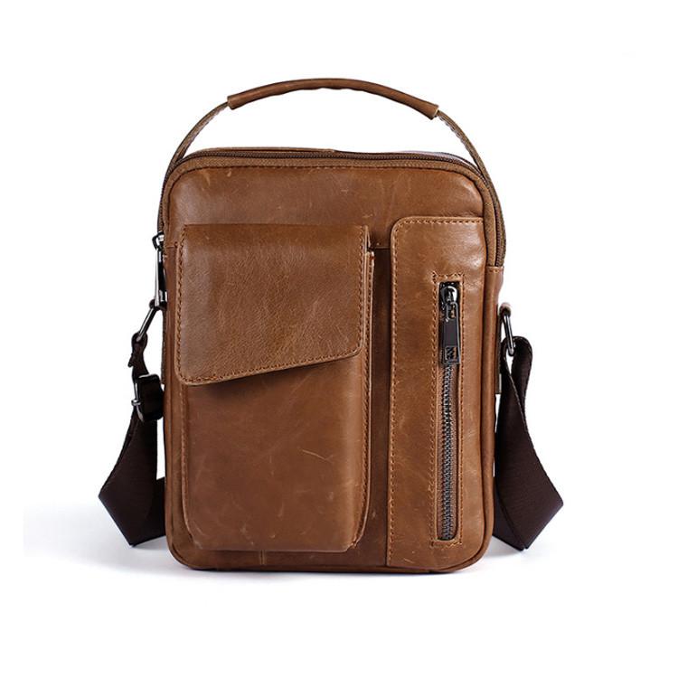 Кожаная сумка-барсетка Marrant светло-коричневая