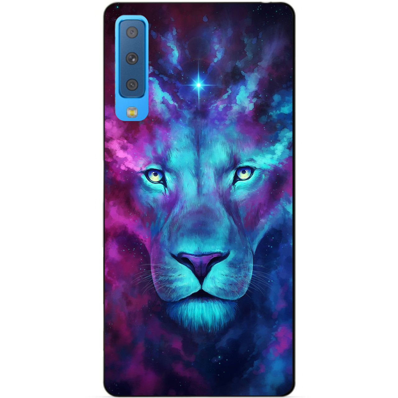 Силиконовый чехол для Samsung A7 2018 Galaxy A750 с рисунком Космический лев