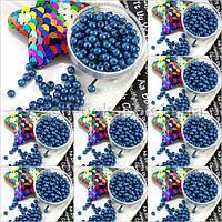 (500 грамм) ОПТ Жемчуг бусины пластик Ø4мм (прим. 14000 шт) Цвет - Синий