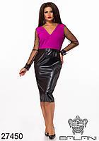 Неординарное платье с юбкой из эко-кожи с 48 по 62 размер, фото 2