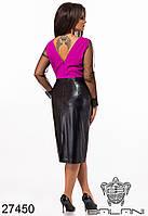 Неординарное платье с юбкой из эко-кожи с 48 по 62 размер, фото 3