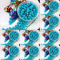 (500 грамм) ОПТ Жемчуг бусины пластик Ø4мм (прим. 14000 шт) Цвет - Бирюзовый