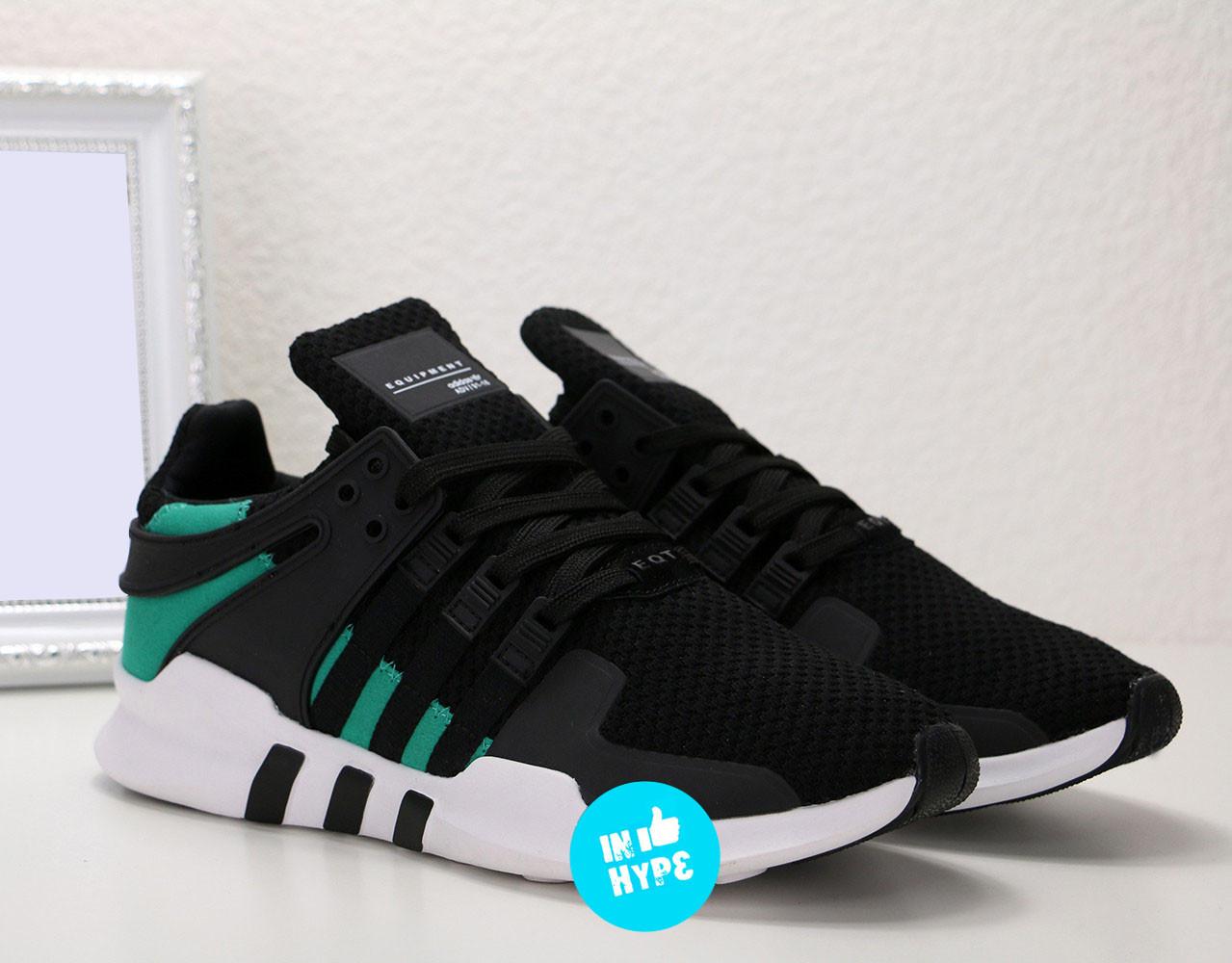 Кроссовки мужские Adidas EQT Support ADV Black Sub Green | Адидас Суппорт АДВ черные с зеленым