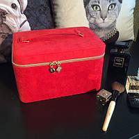 Кейс бьюти, переносная сумка косметичка красная бархатная для косметики с зеркальцем Lancome (Ланком) KS111