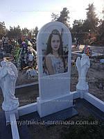 Мраморный детский памятник с ангелочками №107