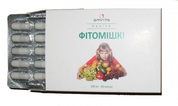 Поливитаминный комплекс для детей натуральный--Фитомишки.Для нормального роста и развития ребенка.60 капсул