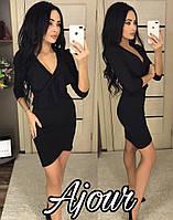 Стильное платье короткое по фигуре декольте на запах рукав три четверти черное