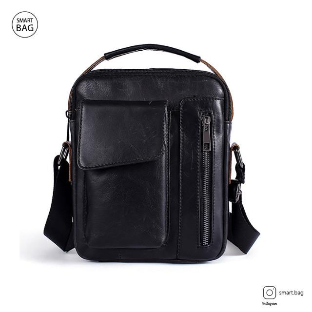 Кожаная сумка-барсетка Marrant | черная. Вид спереди