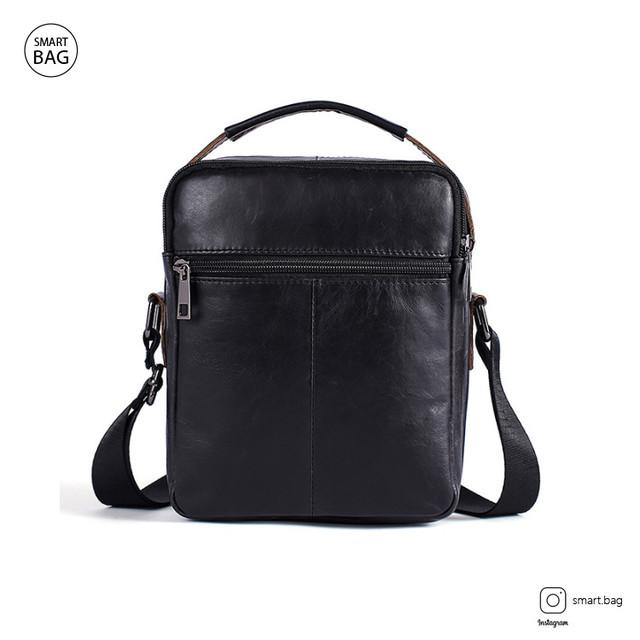 Кожаная сумка-барсетка Marrant | черная. Вид сзади