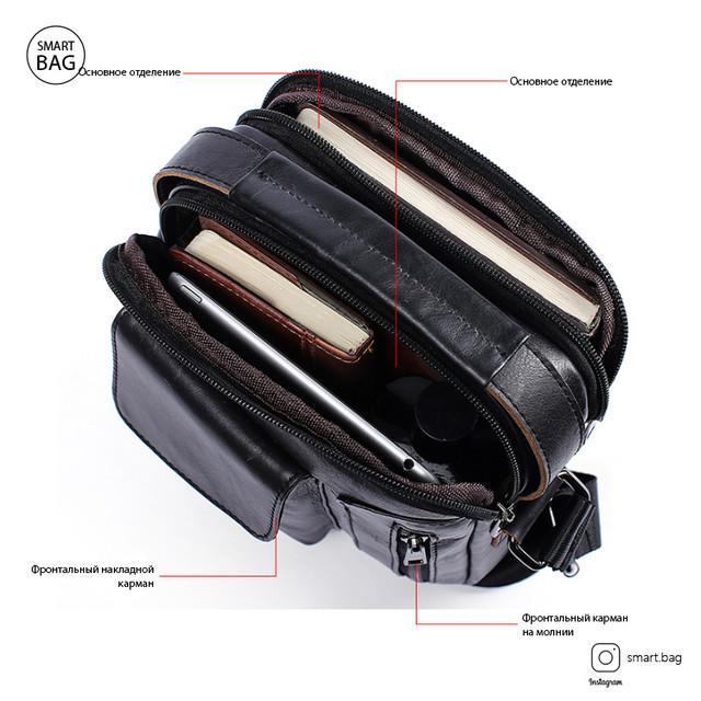 Кожаная сумка-барсетка Marrant | черная. Внутреннее устройство