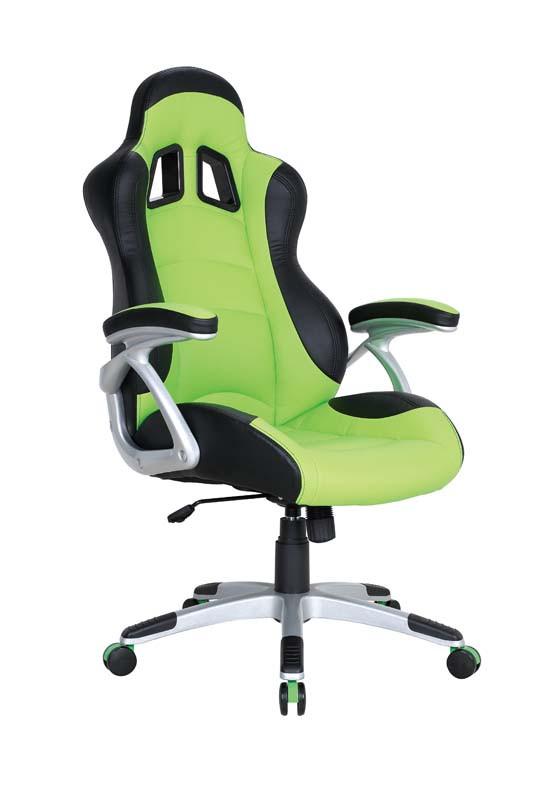 Кресло Форсаж №3 (1709) к/з PU черный/зеленые вставки.