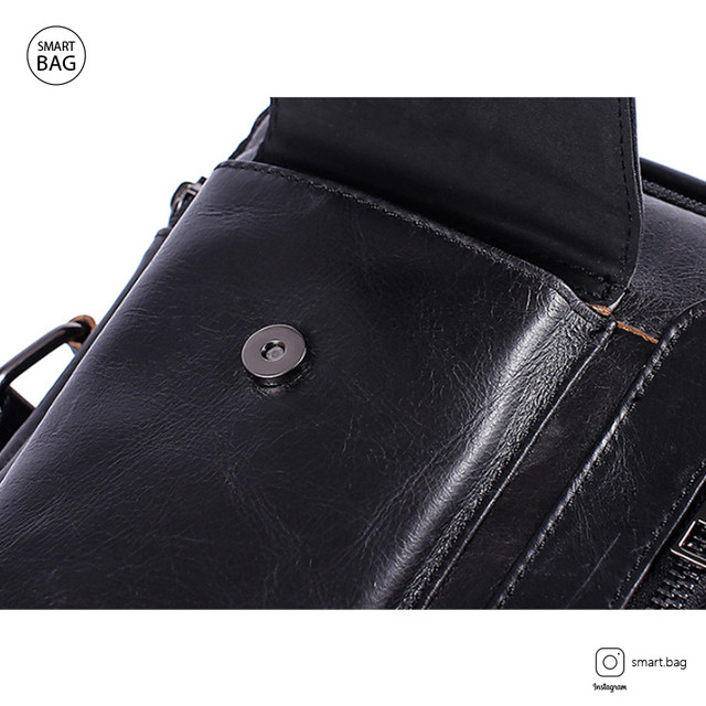 Кожаная сумка-барсетка Marrant | черная. Фронтальный карман