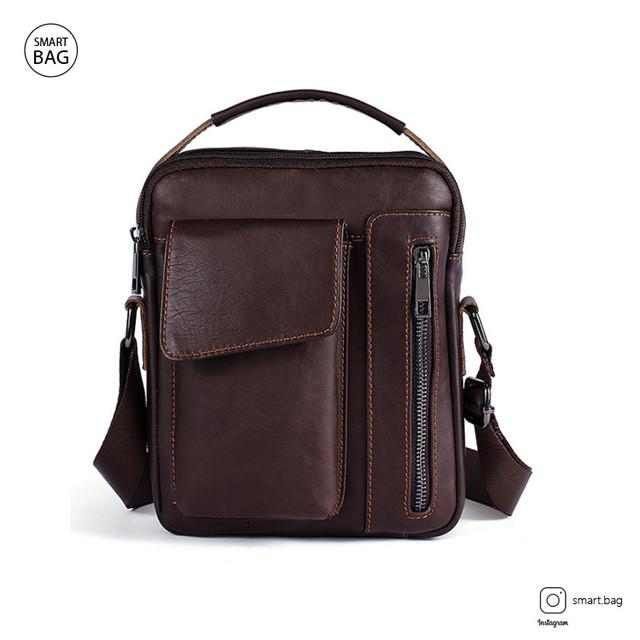 Кожаная сумка-барсетка Marrant | коричневая. Вид спереди