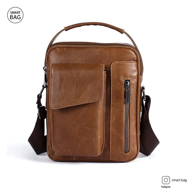 Кожаная сумка-барсетка Marrant | светло-коричневая. Вид спереди