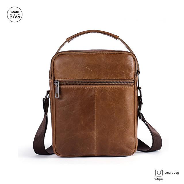 Кожаная сумка-барсетка Marrant | светло-коричневая. Вид сзади