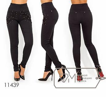 Леггинсы из ткани джинс-стрейч с высокой посадкой, широким поясом, жемчужинами, стразами и 3D аппликацией 11439