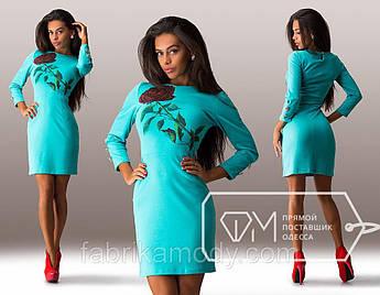 Платье мини приталенное трикотажное с рукавами на манжетах и накатом розы на стебле 4983