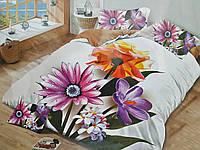 Двуспальное постельное белье Бязь Сатин 5D - Монстера