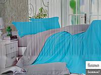 Двуспальное однотонное постельное белье Фланель - Серо-голубое