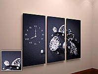 Фотокартина модульная с часами Бриллианты
