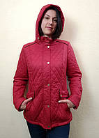 Демисезонная красная стеганная женская куртка с капюшоном, Lawine
