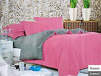 Семейное однотонное постельное белье Фланель - Розово-серое