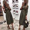 Платье - халат женское под поясок (42/44, 44/46) (цвет хаки) СП