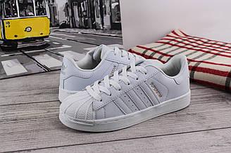 Женские кроссовки Adidas Superstar (Адидас Суперстар) - подростковые, кеды, белые, с белыми полосками