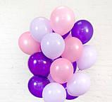 Фонтан из шаров с гелием Белый,Фиолетовый,Сиреневый Пастель 30 см.20 шт., фото 7