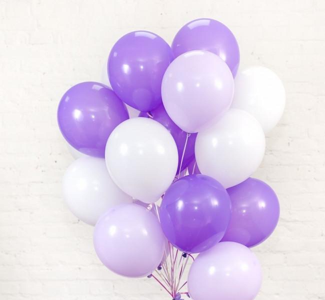 Фонтан из шаров с гелием Белый,Фиолетовый,Сиреневый Пастель 30 см.20 шт.
