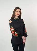 Черная рубашка-вышиванка с вырезами на плечах, арт. 4510