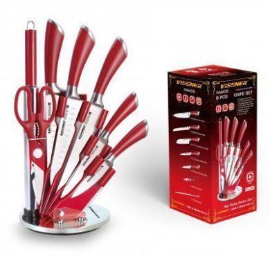 Красный кухонный набор ножей Vissner VS-37803 набор на подставке хороший подарок