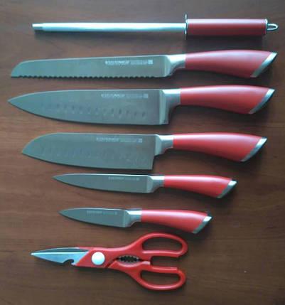 Красный кухонный набор ножей Vissner VS-37803 набор на подставке хороший подарок, фото 2