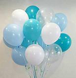 Фонтан из шаров с гелием Фуксия,Аквамарин Пастель 30 см.20 шт., фото 2