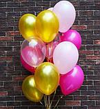 Фонтан из шаров с гелием Фуксия,Аквамарин Пастель 30 см.20 шт., фото 3