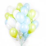 Фонтан из шаров с гелием Фуксия,Аквамарин Пастель 30 см.20 шт., фото 9