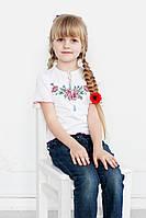 Вышитая футболка для девочки. Букетик