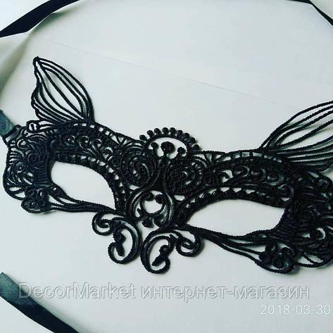 Маска кружевная, карнавальная черная 04, фото 2