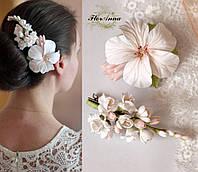 """Комплект заколок ручной работы """"Белые тропики"""". Украшения для волос с цветами. Свадебная прическа, фото 1"""