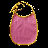 Нагрудник детский водонепроницаемый (слюнявчик непромокаемый) розовый с цветной окантовкой