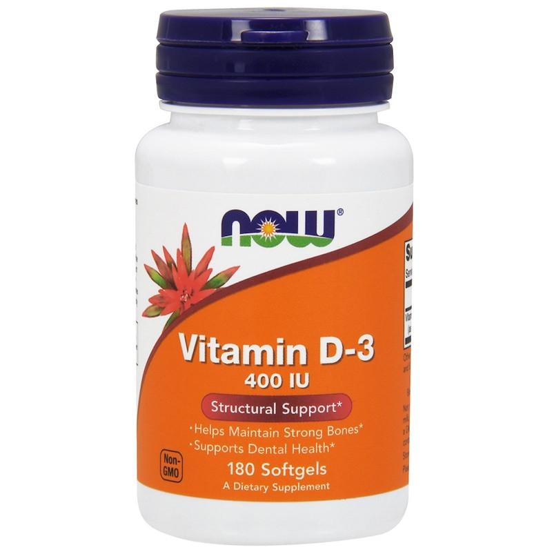 Now Foods, Витамин D-3, Структурная поддержка, 400 МЕ, 180 капсул