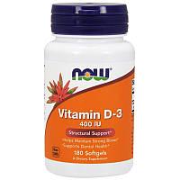 Now Foods, Витамин D-3, Структурная поддержка, 400 МЕ, 180 капсул, фото 1