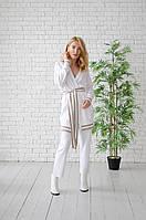 Костюм кардиган и брюки MF-SUIT-CAR-WHT-BEIGE Malina Fashion S Белый с бежевыми полосами