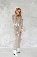 Костюм кардиган и брюки MF-SUIT-CAR-BEIGE Malina Fashion S Бежевый с молочными полосами
