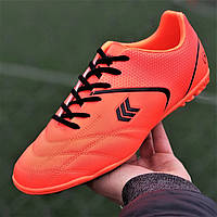 Футзалки, бампы, сороконожки кроссовки для футбола мужские подростковые оранжевые (код 7764)